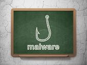 Security concept: Fishing Hook and Malware on chalkboard background