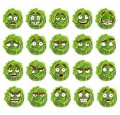 Vector cute cartoon green cabbage smile with many expressions