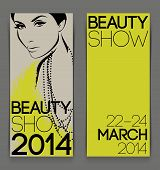 Template With Attractive Female For Advertising Flyer Of Beauty Show. Vector Illustration