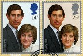 Los príncipes Carlos y Lady Diana Spencer estampilla matasellos