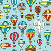 Seamless retro style hot air balloon and zeppelin kids illustration background pattern in vector