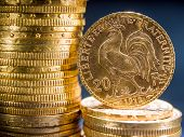 Twenty French Francs gold coins