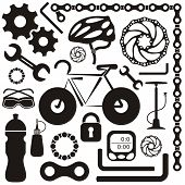 stock photo of pedal  - Black collection of bicycle accessories vector silhouette icons - JPG