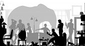vector silhouettes of a family gathering in a living room with an elephant in the background