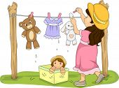 picture of rag-doll  - Illustration of a Little Girl Hanging Her Stuffed Toys to Dry - JPG