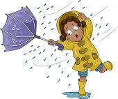 Illustration of a Little Girl Holding an Umbrella Upturned by Poweful Winds
