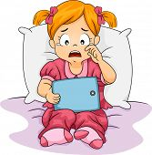 Illustration of a Little Girl Crying While Holding a Tablet Computer