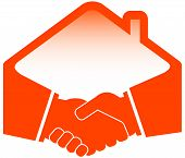 pic of real-estate-team  - handshake with roof  - JPG