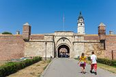 BELGRADE, SERBIA - AUG 15: Tourists in front of Stambol gate of Belgrade fortress on August 15, 2012