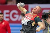 GOTHENBURG, SWEDEN - MARCH 1 Marco Schmidt (Germany) places 7th in the men's shot put final during the European Athletics Indoor Championship on March 1, 2013 in Gothenburg, Sweden.