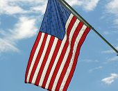 American Flag On Staff