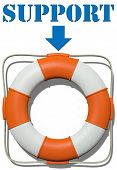 Arrow points to lifesaver Support symbol for finding help and information