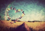 stock photo of hope  - Heart shape made of colorful butterflies on vintage field background - JPG