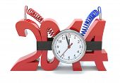 stock photo of time-bomb  - concept with time bomb and number 2014 art and illustration - JPG