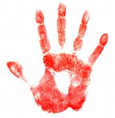 pic of dna fingerprinting  - Bloody red hand print isolated on white - JPG