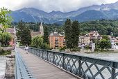 Innsteg Bridge In Innsbruck, Upper Austria.