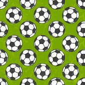 Seamless soccer pattern, vector background.