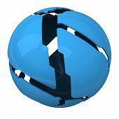 Blue shattered ball, 3d