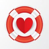Red paper heart in lifebuoy. Valentines day card.