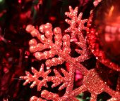 Red Christmas Snowflake and Bauble