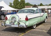 1956 Ford Fairlane Crown Victoria Green White Side View