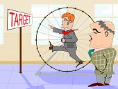 Man in a hamster wheel
