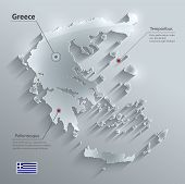 Greece map flag glass card paper 3D vector