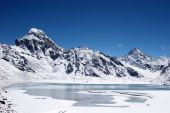 Icy Lake And Mountains, Himalaya, Nepal