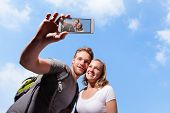 Happy Couple Selfie By Smart Phone