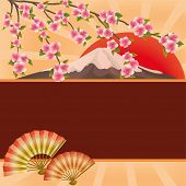 Background With Fans, Mountain And Japanese Cherry Tree Sakura