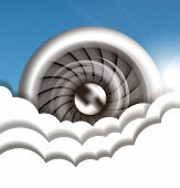 pic of rotor plane  - Jet engine in the sky vector illustration - JPG
