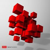 Abstract composition of red 3d cubes.