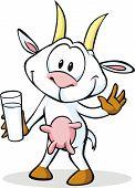 Cute Goat Cartoon Holding Goat Milk