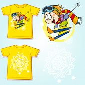 Kid Shirt With Skier Printed - Back And Front View