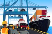 foto of lift truck  - A vector illustration of shipping port scene - JPG