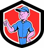 Handyman Repairman Thumbs Up Cartoon