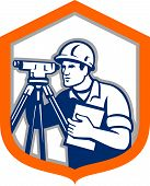pic of theodolite  - Illustration of a surveyor geodetic engineer with theodolite instrument surveying viewed from side set inside shield crest done in retro style on isolated white background - JPG