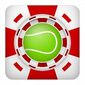 Square red casino chips of tennis sports betting