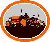 Vintage Farm Tractor Farmer Plowing Oval Retro