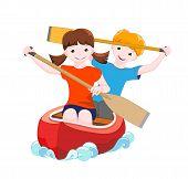Two Children On Red Canoe