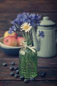 Cornflowers In Vintage Bottle