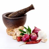 Wooden Mortar With Various Spices On White Background