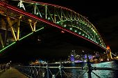 Sydney Harbour Bridge In Rvibrant Colors During Vivid Sydney