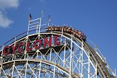 Historical landmark Cyclone roller coaster in the Coney Island section of Brooklyn