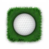 Icon symbol golf ball in green grass.