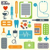 Vector set of flat medical icons