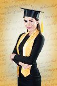 Young beautiful student graduation portrait