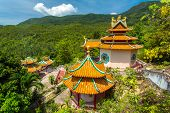 Kuan yin, chinese temple overlooking Chaloklum Bay at Koh Phangan, Thailand