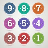 Set Of Round Emblems With Numbers From 1 To 9 In Flat Style And Different Colors. Vector Illustratio