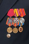 Samara, Russia - June 3, 2014: Different Awards And Medals On The Russian Navy Uniform